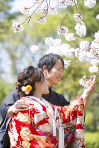 桜の和装ロケーション前撮り撮影名城公園