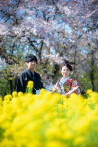 庄内緑地公園で和装前撮りロケーションフォト菜の花の季節