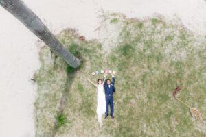 名古屋でドローンを使ったビーチフォト前撮りロケーションフォトウェディング