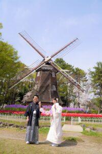 名城公園で前撮り和装ロケーションフォト水車