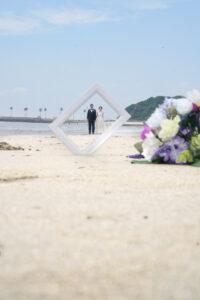 名古屋で人気のビーチウェディングフォト海で前撮り