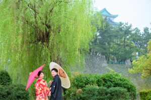 名城公園で和装前撮りロケーションフォトおしゃれで安い