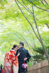 名古屋東山植物園で和装ブーケを持って色打掛和装前撮りロケーションフォト