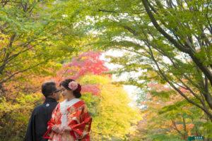 ロケーションフォトで人気の名古屋東山植物園で紅葉色打掛和装前撮りポーズ