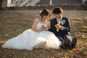 名古屋ので人気の格安洋装ロケーションフォトウェディング前撮りポーズ