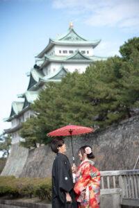 名古屋城と和装ロケーションフォトウェディング
