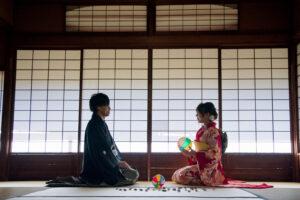 名古屋で人気の東山荘の茶室で安い前撮り和装ロケーションフォトウェディング