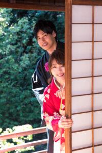 名古屋で人気の東山荘の茶室で格安前撮り和装ロケーションフォト