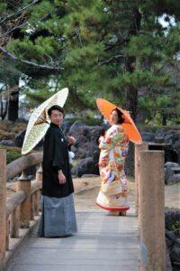 日本庭園で和装前撮りロケーション撮影ウェディングフォト