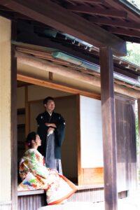 茶室で名古屋の格安前撮り和装ロケーションフォト