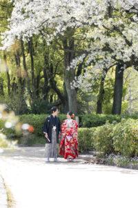 名古屋の名城公園でロケーションフォトウェディング和装前撮り