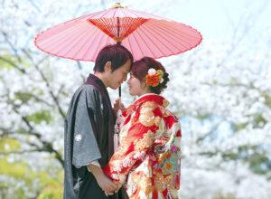 名古屋で人気のロケーション前撮り和装フォト相合傘