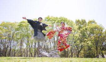 人気の名城公園で 名古屋の格安前撮り和装ロケーションフォトジャンプ