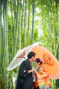 久屋大通庭園フラリエで和傘を持って名古屋和装前撮り