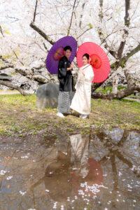 和装前撮りポーズ名古屋城のロケーションフォト