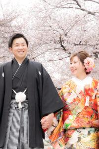 人気の名古屋城で桜の和装ロケーション前撮りウェディングフォト