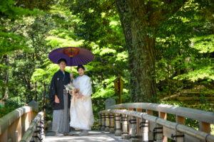 白無垢で和装ロケーションフォト人気の名古屋の徳川園