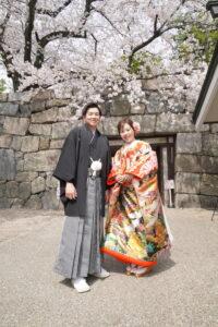 桜の和装前撮りロケーションフォト名古屋で人気の名古屋城