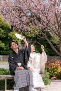 桜で人気の徳川園でロケーションフォトウェディング前撮り後撮りが安い