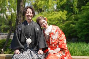 和装前撮り日本庭園でロケーションフォト