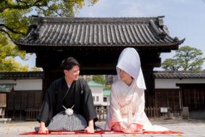 人気の徳川園でロケーション前撮りフォトウェディング白無垢綿帽子