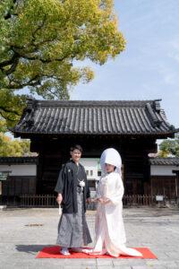 名古屋のロケーション前撮りフォトウェディング白無垢綿帽子