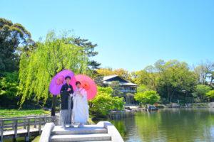 人気の徳川園ロケーション前撮りフォトウェディング名古屋和傘